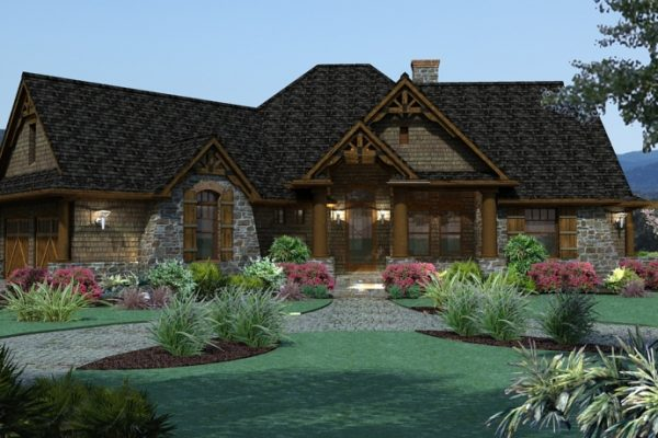 Vita Encantata Traditional Floor Plan Front Exterior Render