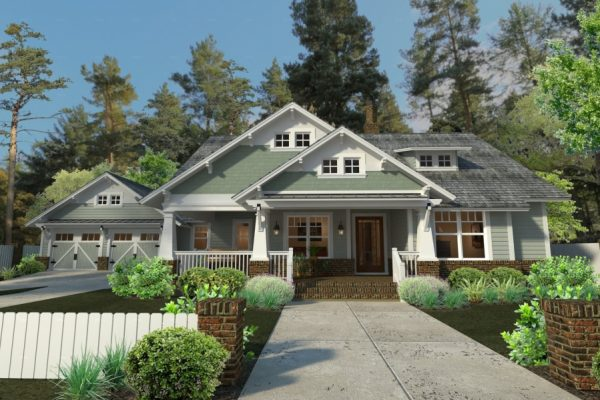 The Durham Drive Floor Plan Front Exterior Render
